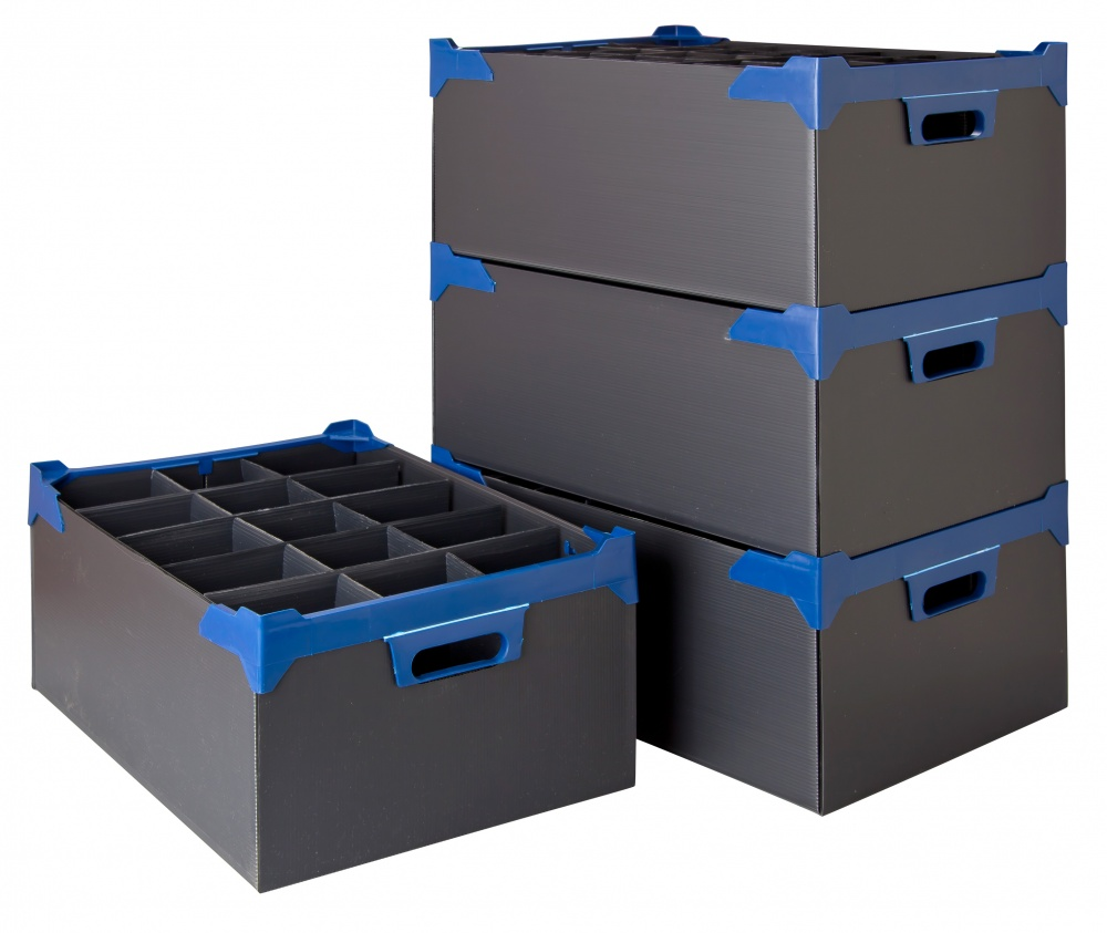 Glassware Storage Boxes Stacked with no lids