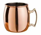 Mezclar <br>Copper Plated <br>500ml Curved Moscow Mule Mug <br>Brass Handle